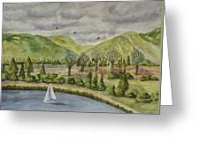 Sailing On A Cloudy Day Greeting Card