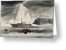 Sailing On A Grey Day Greeting Card