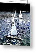Sailing On Blue Greeting Card