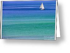 Sailing On Turquoise Blue Water Greeting Card