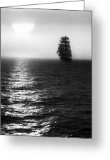 Sailing Out Of The Fog - Black And White Greeting Card by Jason Politte