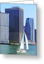 Sailing Past The Skyscrapers Greeting Card