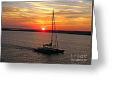 Sailing Past The Sunset Greeting Card