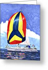 Sailing Primary Colores Spinnaker Greeting Card