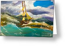 Sailing Ship In A Storm Greeting Card