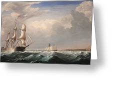 Sailing Ships Off The New England Coast Greeting Card