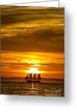 Sailing Yacht Schooner Pride Sunset Greeting Card