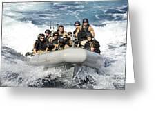 Sailors Conduct Maneuvers Greeting Card