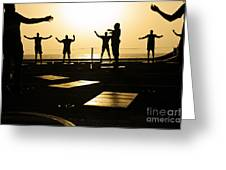 Sailors Exercise In The Hangar Bay Greeting Card