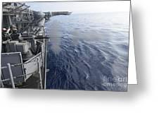 Sailors Fire A 25mm Machine Gun Aboard Greeting Card