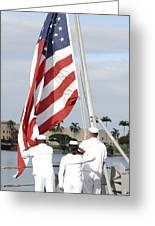 Sailors Hoist The American Flag Greeting Card