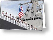 Sailors Man The Rails Aboard Uss Greeting Card
