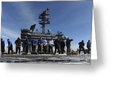 Sailors Participate In A Fight Deck Greeting Card