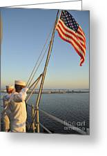Sailors Salute The National Ensign Greeting Card