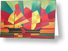 Sails And Ocean Skies Greeting Card