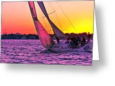 Sails At Dusk Greeting Card