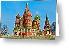 Saint Basil Cathedral In Red Square In Moscow- Russia Greeting Card