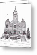 Saint Bridget's Church At Christmas Greeting Card by Michelle Welles