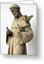Saint Francis Of Assisi Statue With Birds Greeting Card