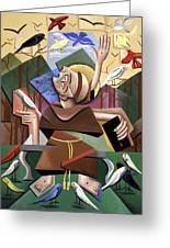 Saint Francis Sermon To The Birds Greeting Card by Anthony Falbo