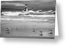 Saint Joseph Michigan Lighthouses Stormy Day At Silver Beach I Bw Greeting Card