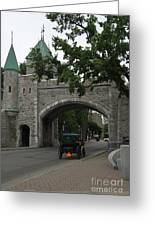 Saint Louis Gate In Ramparts Of Quebec City Greeting Card