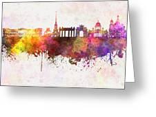Saint Petersburg Skyline In Watercolor Background Greeting Card