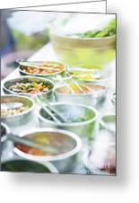 Salad Bowls With Mixed Fresh Vegetables Greeting Card