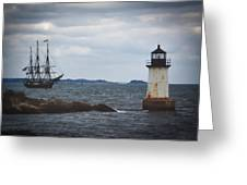 Salem's Friendship Sails Past Fort Pickering Lighthouse Greeting Card
