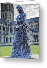 Salisbury Cathedral And The Walking Madonna 2 Greeting Card