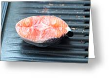 Salmon Fillet On Bbq Greeting Card