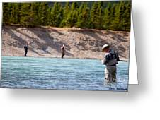 Salmon Fishing Greeting Card by Chris Heitstuman