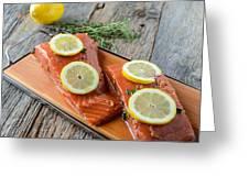 Salmon On A Cutting Board With Lemon Greeting Card