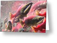 Salmon Run - Square - Painterly - 2013-0103 Greeting Card by Wingsdomain Art and Photography