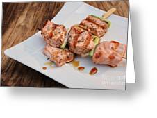 Salmon Teriyaki Skewers Greeting Card