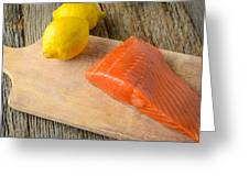Salmon With Lemons On Wood Background Greeting Card