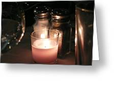 Salt And Pepper With Candle Greeting Card
