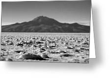 Salt Flat Surface Black And White Greeting Card