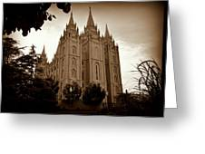Salt Lake City Lds Temple Sepia Greeting Card
