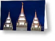 Salt Lake Lds Mormon Temple At Night Greeting Card