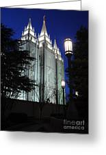 Salt Lake Mormon Temple At Night Greeting Card