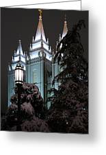 Salt Lake Temple In The Snow Greeting Card