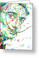 Salvador Dali Watercolor Portrait Greeting Card