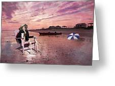 Sam Takes A Break From Kayaking Greeting Card by Betsy Knapp