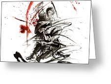 Samurai Sword Black White Red Strokes Bushido Katana Martial Arts Sumi-e Original Fight Ink Painting Greeting Card
