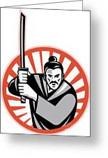 Samurai Warrior Sword Retro Greeting Card
