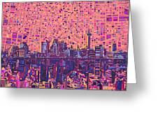 San Antonio Skyline Abstract 5 Greeting Card
