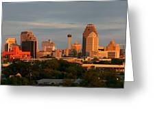 San Antonio - Skyline At Sunset Greeting Card