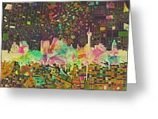 San Antonio Skyline Watercolor 5 Greeting Card
