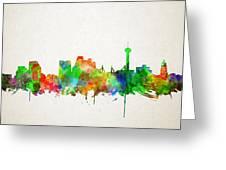 San Antonio Skyline Watercolor Greeting Card